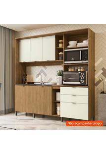Cozinha Compacta Frow Ii 5 Pt 3 Gv Freijó E Off White 215 Cm