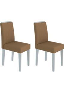 Conjunto Com 2 Cadeiras Ana Ii Off White E Marrom