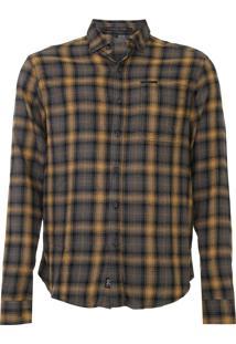 Camisa John John Reta Xadrez Cinza/Amarelo