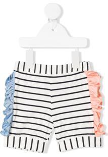 Wauw Capow Pop Striped Ruffle-Trimmed Shorts - Branco