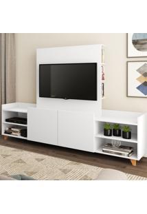 Rack Com Painel Para Tv Até 40 Polegadas Aurora 2 Portas Branco Tx - Bentec