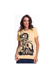 Camiseta Jazz Brasil Caveira Serpente Amarela