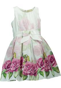 Vestido Pipoca Doce Barrado Floral