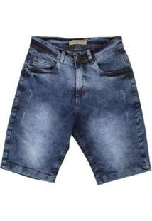 Bermuda Jeans Estonada Besni Masculina - Masculino-Azul+Off White