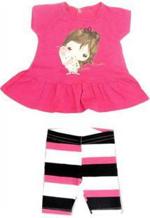Conjunto Curto Bebê Blusa E Shorts Menina