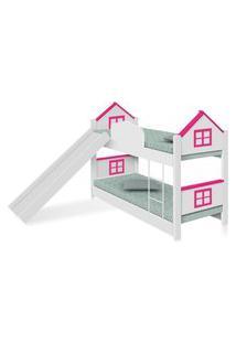 Beliche Infantil Casa Adesivada Rosa Escorregador E Colchões Casah