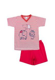 Pijama Infantil Ano Zero Menino Malha Listrada Silk Rinoceronte Elefante E Leão - Vermelho