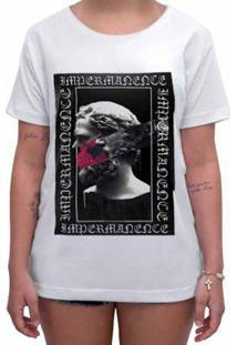 Camiseta Impermanence Estampada Velho Feminina - Feminino-Branco