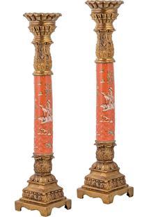Castiçal De Porcelana E Bronze - Linha Colonial