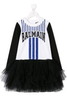 Balmain Kids Vestido Com Logo E Tule - Branco