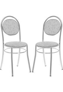 Cadeira 190 Cromada 02 Unidades Fantasia Branco Carraro