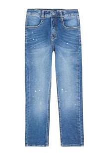 Calça Jeans Infantil Menino Com Respingos Play Jeans Hering Kids Azul