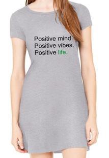 Vestido Criativa Urbana Estampado Positive - Feminino-Cinza