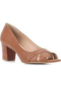 Peep Toe Couro Shoestock Cobra Tiras Cruzadas - Feminino-Marrom