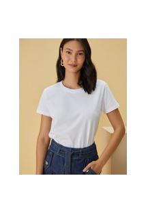 Amaro Feminino T-Shirt Básica Estonada, Branco