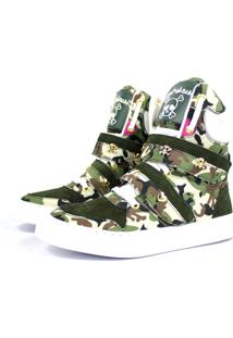 Tênis Sneaker Cheia De Marra Fitness Couro Cano Alto Camuflado