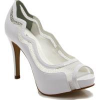 52f4cf9bc7 Sapato Peep Toe Zariff Shoes Noivas Glitter - Feminino-Branco