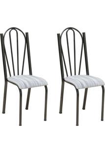 Conjunto 2 Cadeiras Mnemónise Cromo Preto E Linho