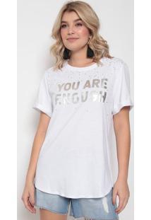 Camiseta Com Termocolantes - Branca & Prateada - Mormorena Rosa