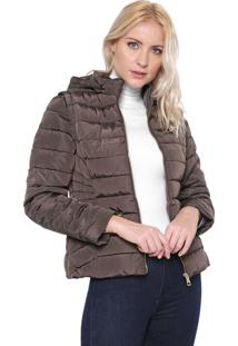 Jaqueta Puffer Facinelli By Mooncity Gola Alta Marrom