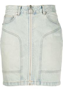 Off-White Jaqueta Jeans Com Zíper - Azul