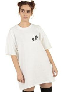 Camiseta Skull Clothing Los Angeles La Feminina - Feminino-Branco