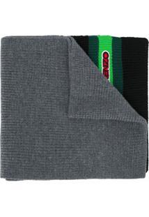 Kenzo Cachecol De Tricô Com Patch De Logo - Cinza