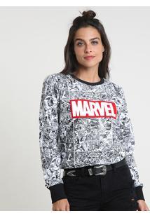 Blusão Feminino Marvel Em Moletom Branco