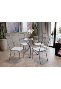 Conjunto Mesa Volga C/ 4 Cadeiras Viena Cromado/Branco Kappesberg - Branco - Dafiti