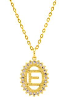 Gargantilha Horus Import Pingente Letra E Banhada Ouro Amarelo 18 K - 1060208