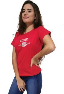 Camiseta Feminina Cellos Sigle Rose Premium Vermelho - Kanui