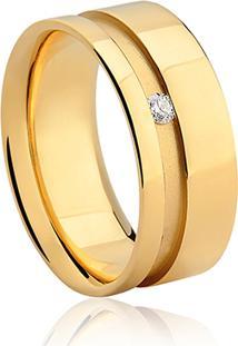 Aliança Noiva 8 Mm Ouro Amarelo E Diamante