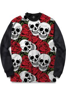 Blusa Bsc Skull Red Roses Full Print - Masculino-Preto