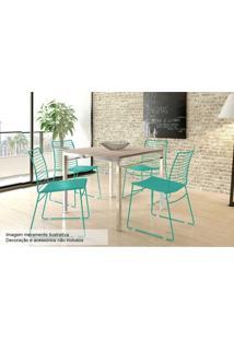 Sala De Jantar Carraro Mesa 1525+4 Cadeiras Turquesa