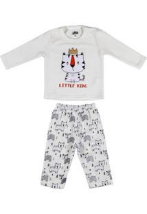 Pijama Longo Flik Infantil Para Bebê Menino - Off White
