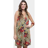 953eda429 Vestido Cantão Curto Evasê Decote V Estampa Floral - Feminino-Marrom+Marinho