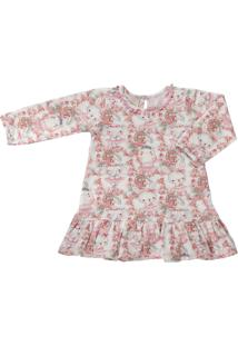 Vestido Para Bebê Manga Longa Cotton Coelhinha - Anjos Baby Rosa
