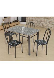 Conjunto De Mesa Com 4 Cadeiras Sara Craqueado Preto E Preto Flor
