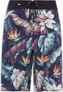Bermuda Masculina Floral - Preto