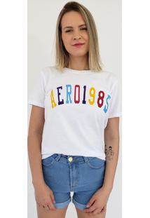 T-Shirt Baby Look Aero Jeans 1985 Branca