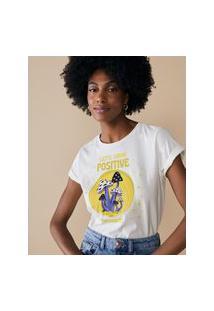 Amaro Feminino T-Shirt Regular Let'S Grow Positive, Off-White