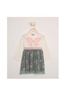 Vestido De Tule Infantil Manga Longa Borboleta Verde