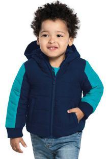 Jaqueta Infantil Masculina Com Capuz Azul