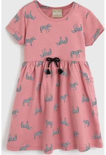 Vestido Milon Infantil Zebra Rosa