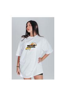 Camiseta Feminina Oversized Boutique Judith Pizza Todo Dia Branco
