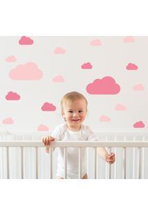 Adesivo De Parede Infantil Quartinho Nuvens Rosa