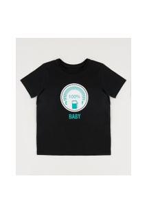 "Camiseta Infantil Tal Pai Tal Filho Combustível"" Manga Curta Gola Careca Preta"""