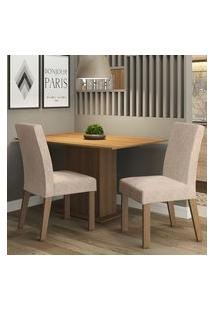 Conjunto Sala De Jantar Madesa Manu Mesa Tampo De Madeira Com 2 Cadeiras Rustic/Imperial Rustic