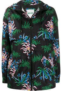 Kenzo Sea Lily-Print Hooded Windbreaker - Preto
