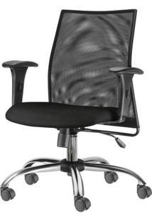 Cadeira Liss Com Bracos Assento Courino Preto Base Semi Arcada Cromada - 54661 Sun House